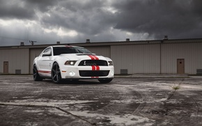 Picture white, clouds, the building, Mustang, Ford, Shelby, Mustang, muscle car, Ford, muscle car, gt500, red …