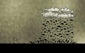 Picture clouds, photographer, umbrellas