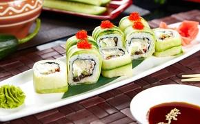 Picture cucumber, sauce, sushi, rolls, wasabi, filling, vegetarian