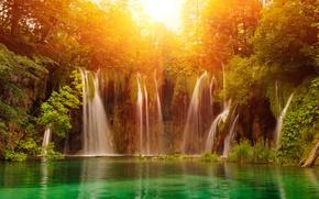 Picture autumn, the sun, waterfall