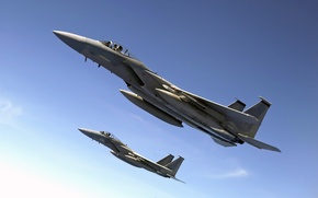 Wallpaper flight, the sky, F-15