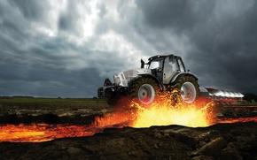 Picture the sky, Lamborghini, tractor, lava, Lamborghini, plow