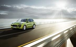 Picture road, speed, Porsche, jeep, green, Porsche Cayenne