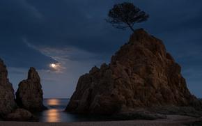Picture night, moonlight, Spain, Costa Brava, Tossa de Mar