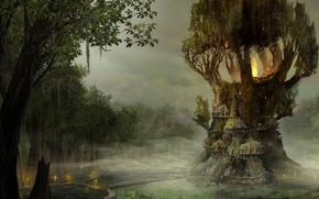 Picture the sky, lights, tree, swamp, home, bridges