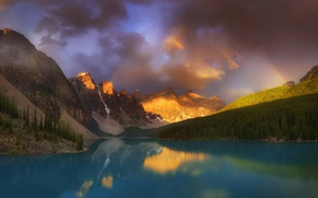 Picture forest, light, mountains, lake, rainbow, Canada