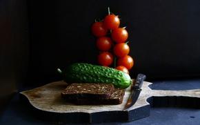 Wallpaper food, cucumber, bread, knife, tomatoes