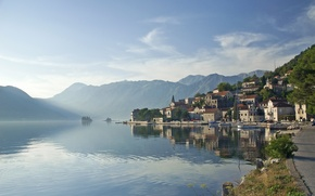 Picture sea, the city, morning, Montenegro, the fjord, Jadran, Montenegro, Perast, Perast