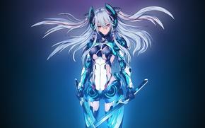 Picture girl, weapons, anime, art, costume, swords, assassinwarrior