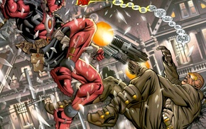Picture weapons, comic, ninja, drop, deadpool, blood, marvel, comics, gun, heroes, shots