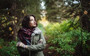 Picture autumn, forest, girl, nature