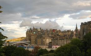 Picture The sky, Clouds, Bridge, The city, Panorama, Scotland, Building, Clouds, Sky, Bridge, Scotland, Edinburgh, Edinburgh, …