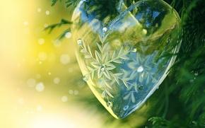 Wallpaper snowflake, glass, heart, transparent, bokeh, needles, decoration, ball, sequins, decor