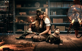 Picture girl, room, family, steampunk, steampunk