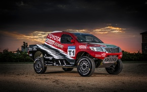 Picture desert, dust, cloud, Toyota, Car, Hilux, Toyota, Rally, Dakar