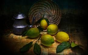 Picture style, kettle, lemons, vintage