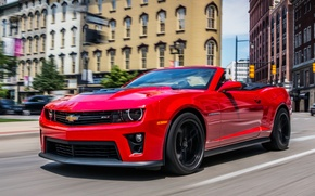 Picture Red, Road, The city, Chevrolet, Machine, Convertible, Movement, Building, Camaro, Chevrolet, City, Camaro, Red, Car, ...