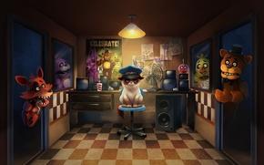 Wallpaper cat, art, Bonnie, Foxy, Chica, Five Nights at Freddy's, Freddy Fazbear