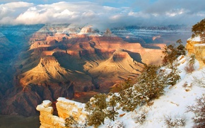 Picture the sky, clouds, snow, trees, sunset, mountains, nature, canyon