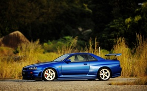 Picture nissan, turbo, skyline, japan, Nissan, blue, jdm, tuning, gtr, r34, skyline, nismo