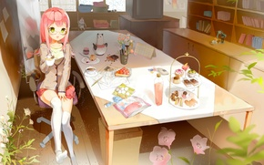 Picture table, room, toys, books, plants, chair, stockings, mirror, TV, window, the tea party, girl, sweets, …