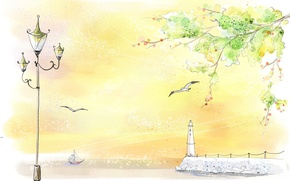 Picture figure, lighthouse, Seagull, lantern