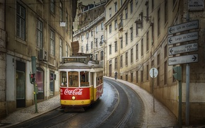 Wallpaper Lisbon, street, Portugal, tram, the city