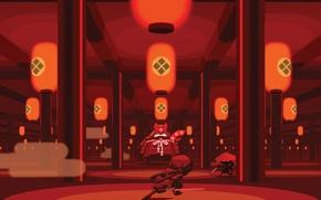 Picture katana, fan, lights, columns, temple, the fight, Mini Ninjas