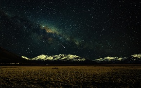Picture space, stars, snow, mountains, the fence, field, The Milky Way, secrets