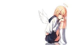 Picture girl, wings, anime, art, form, schoolgirl, halo, phantania