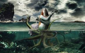 Picture sea, girl, fantasy, Wallpaper