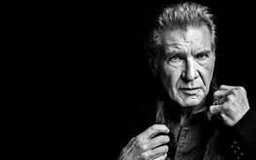 Picture actor, black background, model, Harrison Ford, Harrison Ford