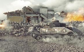 Picture destruction, shot, Germany, tank, tanks, Germany, WoT, World of tanks, tank, World of Tanks, tanks, …