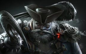 Picture background, smoke, tube, hat, pirate, Raven, hook