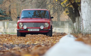 Picture autumn, leaves, sedan, red, Lada, Lada, Vaz, AVTOVAZ, 21011