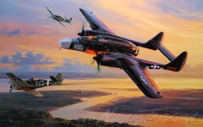 Picture the plane, Fighter, painting, P-61, Black Widow, WW2, aircraft art, P-61 Black Widow