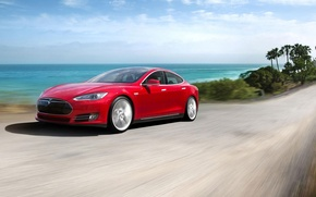 Picture The sky, Red, Road, Speed, Palm trees, Sedan, Tesla, Tesla, The front, Model, Model S, …