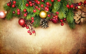 Picture decoration, berries, balls, tree, Christmas, decoration, xmas, Merry, Christmas. New Year