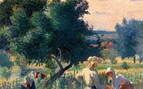 Picture women, landscape, picture, genre, Henri Edmond Cross, WomenTying the Vine