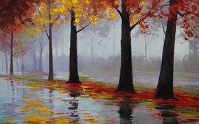 Picture autumn rain, figure, artsaus, art