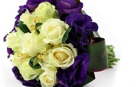 Picture flowers, yellow, bouquet, purple, roses, composition