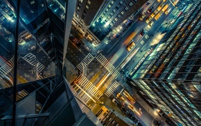 Picture road, auto, night, city, the city, lights, street, the building, height, skyscrapers, crossroads, taxi, USA, ...