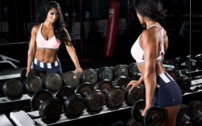 Picture sexy, ass, woman, muscle, butt, mirror, fitness, gym, dumbbells