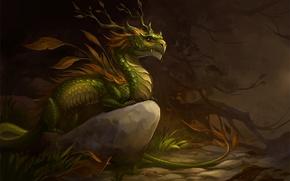 Picture autumn, forest, leaves, dragon, stone, art, sandara