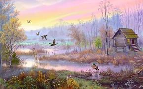 Wallpaper birds, house, figure, swamp