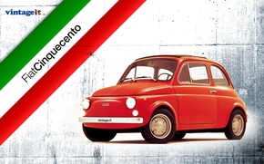 Picture red, Italy, 500, WALLPAPER, FIAT, VINTAGE