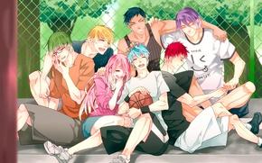 Picture girl, joy, smile, mood, the ball, anime, guys, Kise Ryouta, Kuroko Tetsuya, Momoi Satsuki, kuroko's …