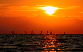 Picture Sunset, The sun, The sky, Water, Clouds, The ocean, Horizon, People