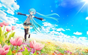 Picture chuukarudoruhu, flowers, girl, hatsune miku, art, the wind, tulips, petals, field, the sun, vocaloid, clouds