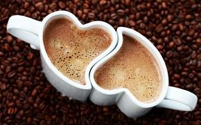 Picture foam, heart, coffee, grain, Cup, drink